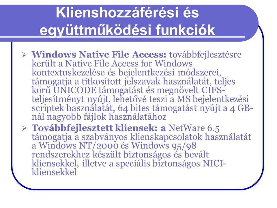 Klienshozzáférési és együttműködési funkciók