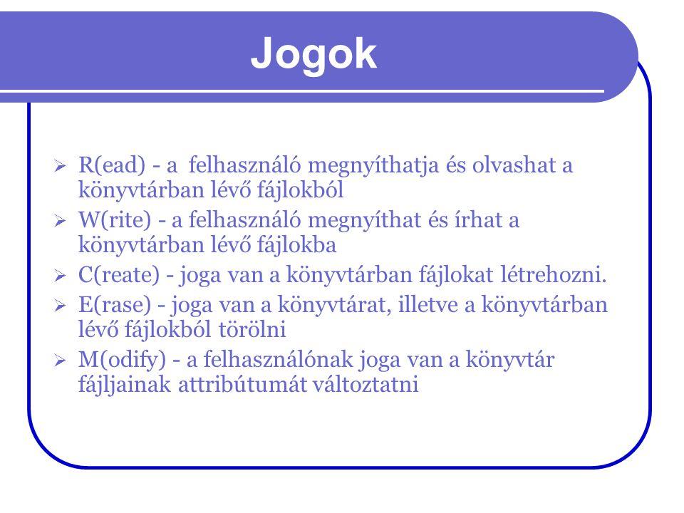 Jogok R(ead) - a felhasználó megnyíthatja és olvashat a könyvtárban lévő fájlokból.
