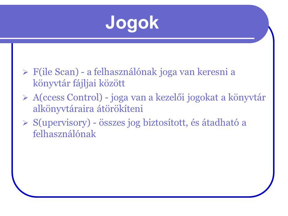Jogok F(ile Scan) - a felhasználónak joga van keresni a könyvtár fájljai között.