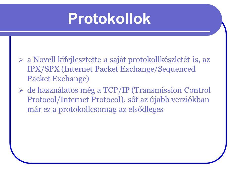 Protokollok a Novell kifejlesztette a saját protokollkészletét is, az IPX/SPX (Internet Packet Exchange/Sequenced Packet Exchange)
