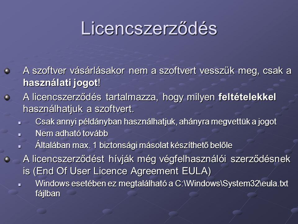 Licencszerződés A szoftver vásárlásakor nem a szoftvert vesszük meg, csak a használati jogot!