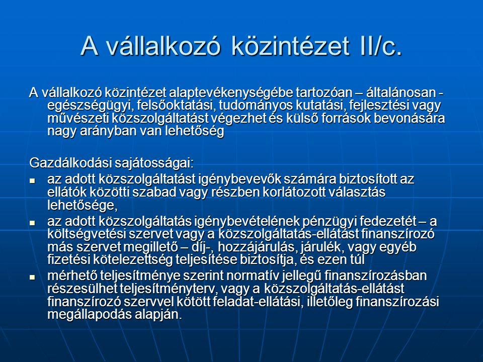 A vállalkozó közintézet II/c.