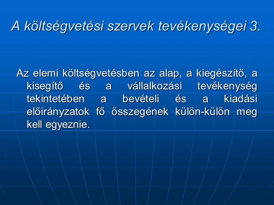 A költségvetési szervek tevékenységei 3.