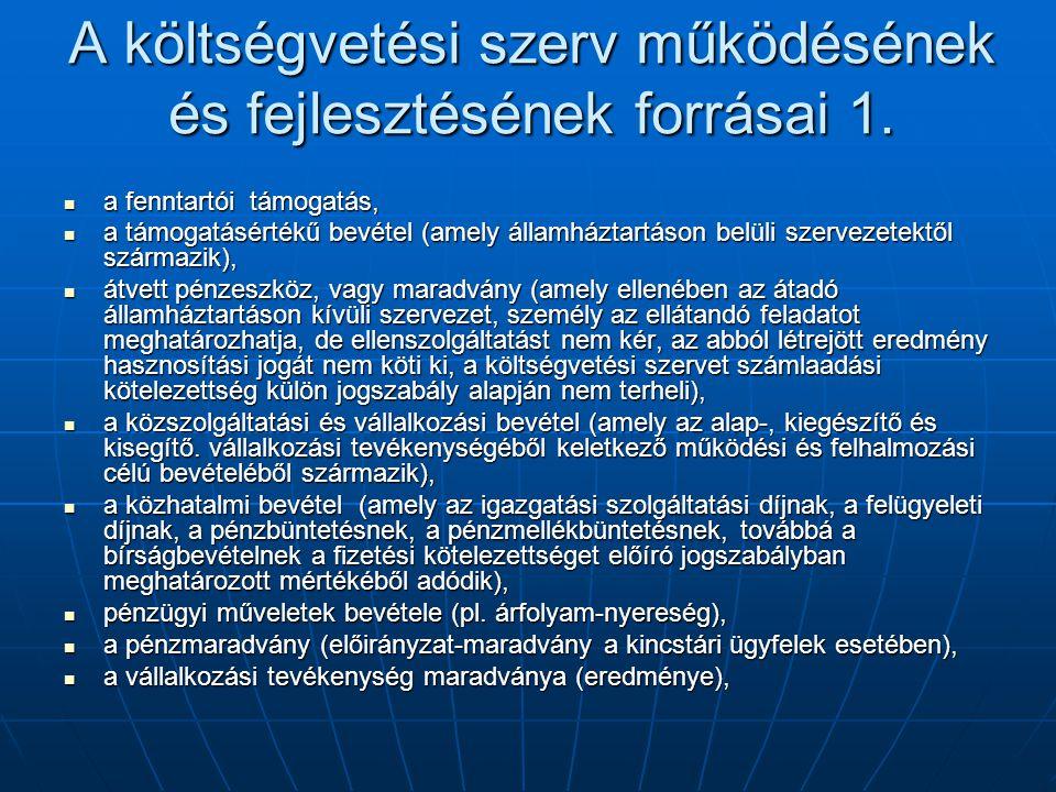 A költségvetési szerv működésének és fejlesztésének forrásai 1.