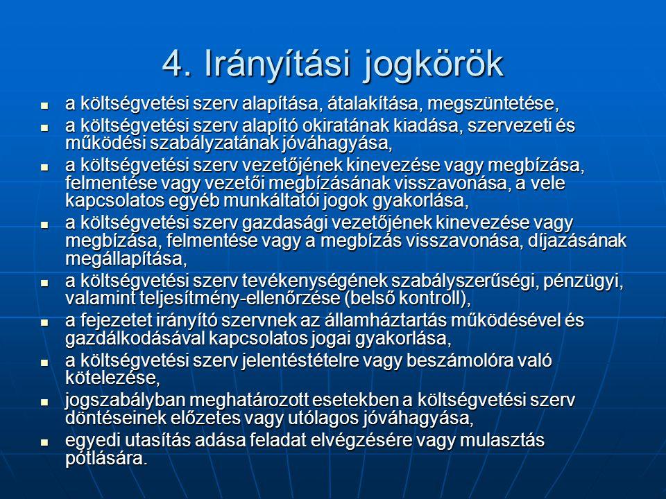 4. Irányítási jogkörök a költségvetési szerv alapítása, átalakítása, megszüntetése,