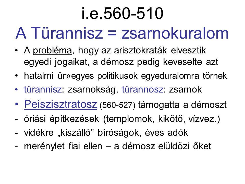 i.e.560-510 A Türannisz = zsarnokuralom