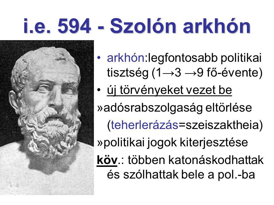 i.e. 594 - Szolón arkhón arkhón:legfontosabb politikai tisztség (1→3 →9 fő-évente) új törvényeket vezet be.