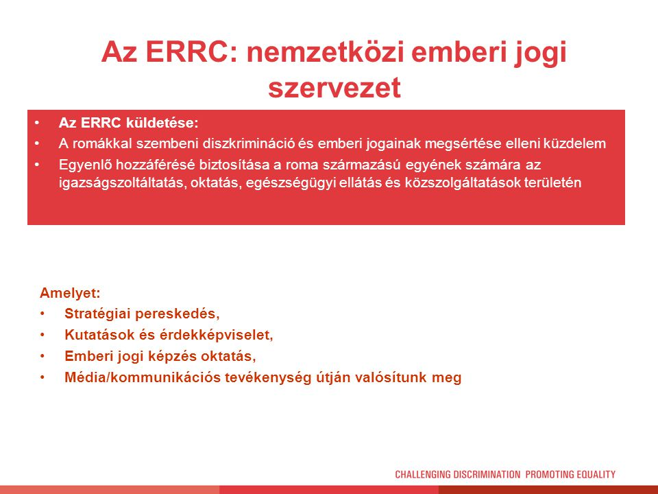 Az ERRC: nemzetközi emberi jogi szervezet