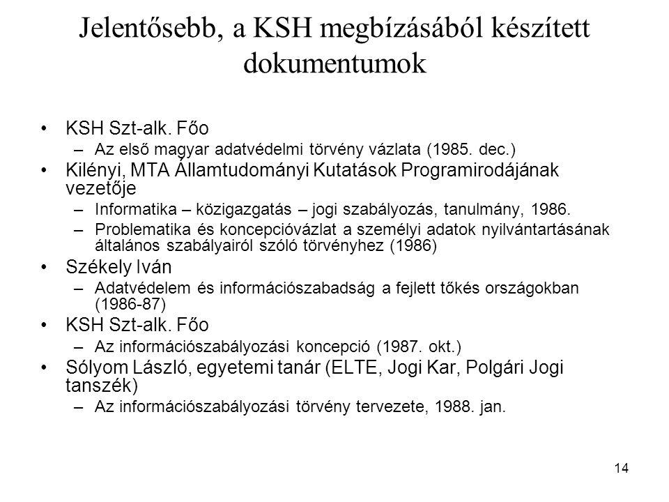 Jelentősebb, a KSH megbízásából készített dokumentumok