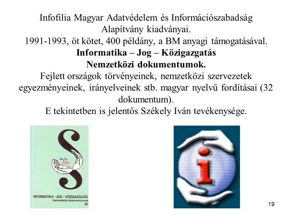 Infofilia Magyar Adatvédelem és Információszabadság Alapítvány kiadványai.