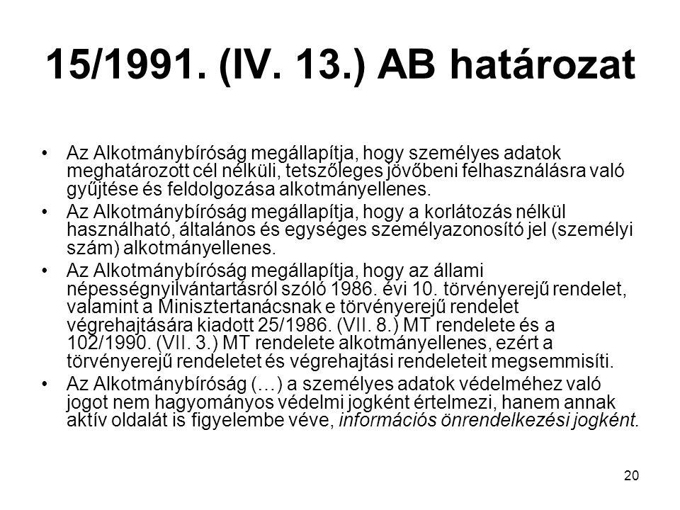 15/1991. (IV. 13.) AB határozat