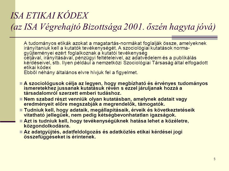 ISA ETIKAI KÓDEX (az ISA Végrehajtó Bizottsága 2001. őszén hagyta jóvá)