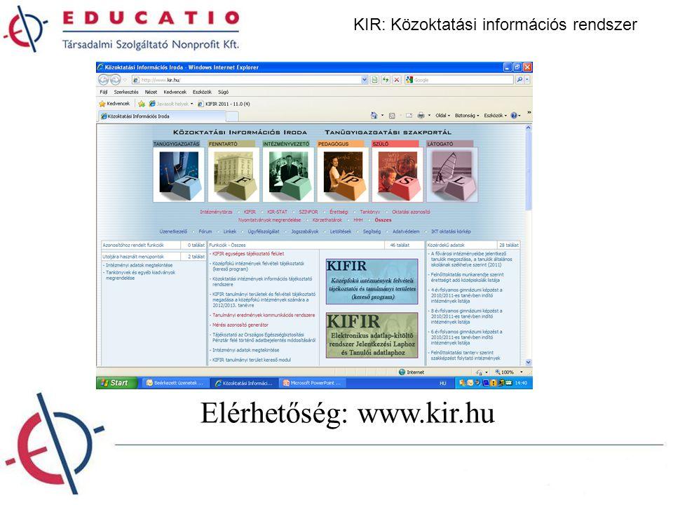 Elérhetőség: www.kir.hu