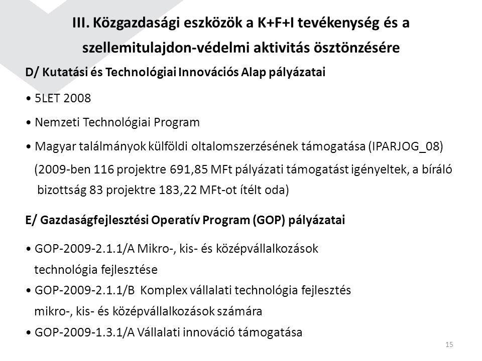 III. Közgazdasági eszközök a K+F+I tevékenység és a szellemitulajdon-védelmi aktivitás ösztönzésére