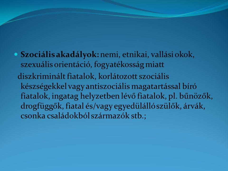 Szociális akadályok: nemi, etnikai, vallási okok, szexuális orientáció, fogyatékosság miatt