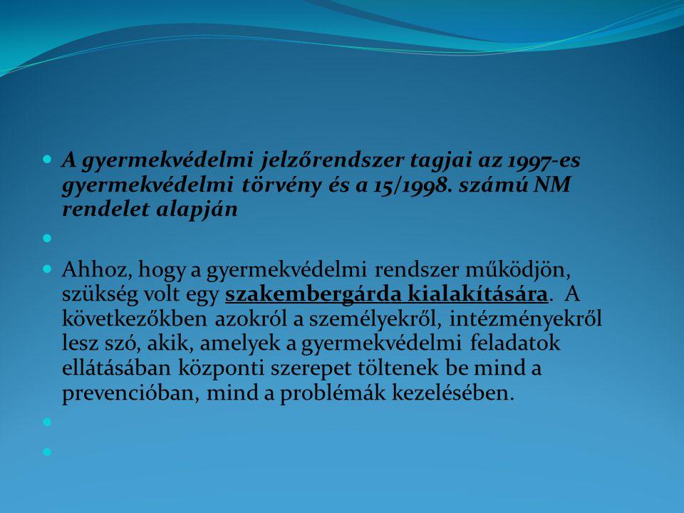 A gyermekvédelmi jelzőrendszer tagjai az 1997-es gyermekvédelmi törvény és a 15/1998. számú NM rendelet alapján
