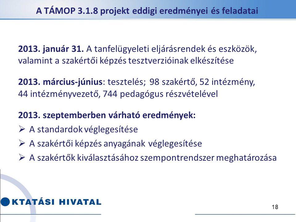 A TÁMOP 3.1.8 projekt eddigi eredményei és feladatai