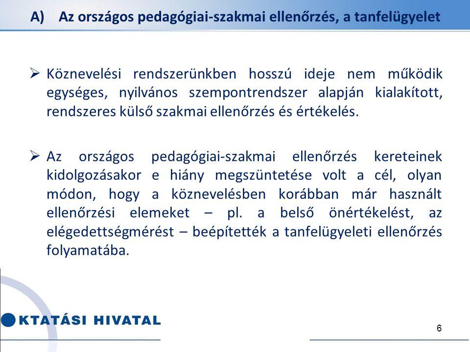 A) Az országos pedagógiai-szakmai ellenőrzés, a tanfelügyelet