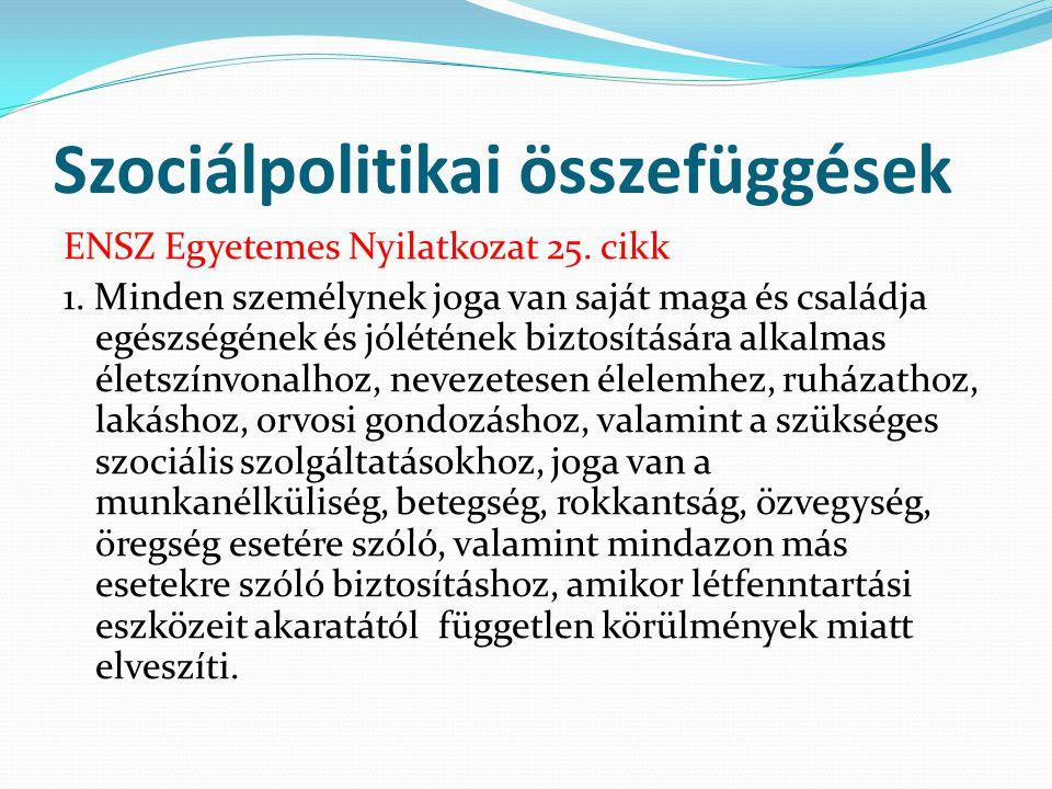Szociálpolitikai összefüggések