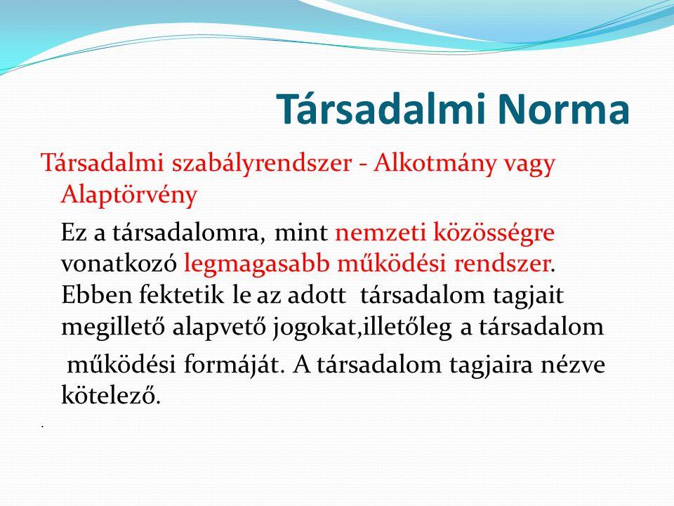 Társadalmi Norma Társadalmi szabályrendszer - Alkotmány vagy Alaptörvény.