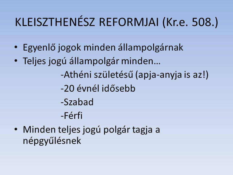 KLEISZTHENÉSZ REFORMJAI (Kr.e. 508.)