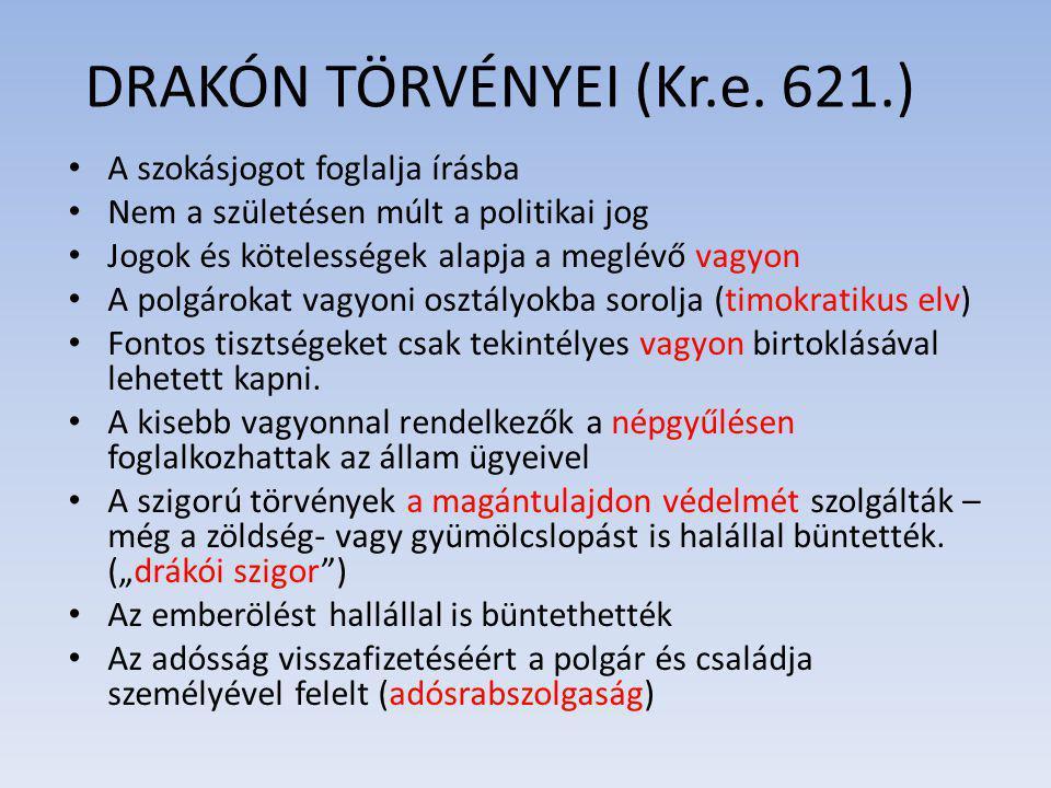 DRAKÓN TÖRVÉNYEI (Kr.e. 621.)