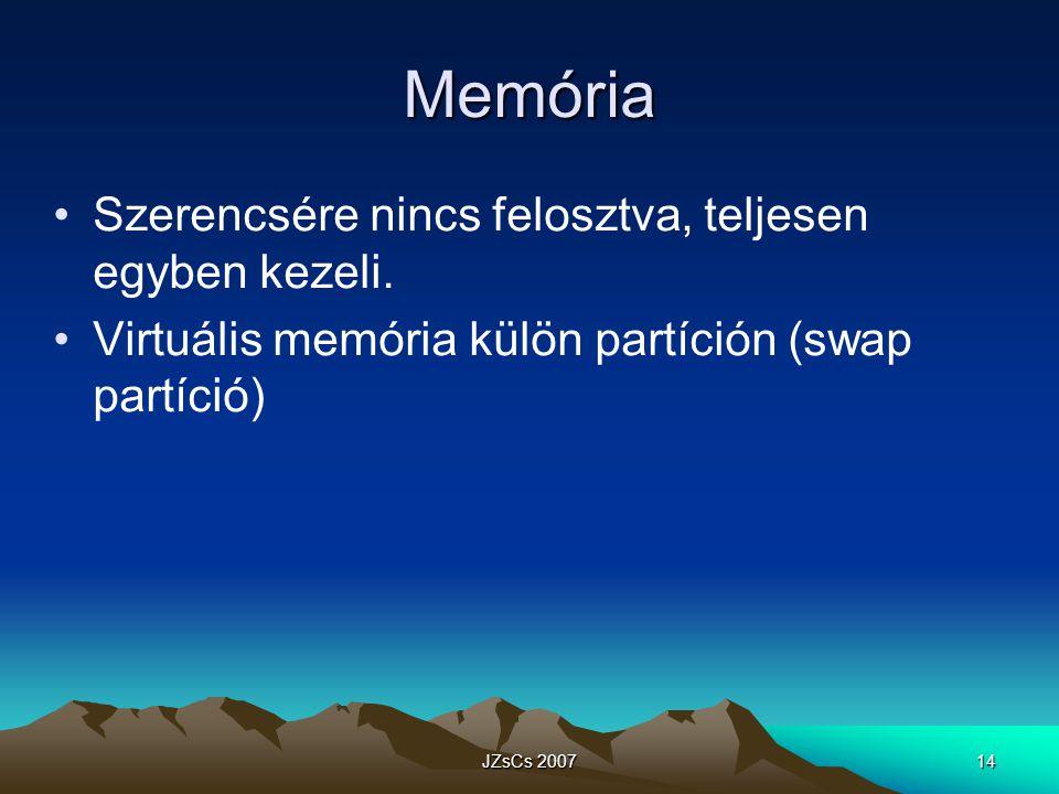 Memória Szerencsére nincs felosztva, teljesen egyben kezeli.