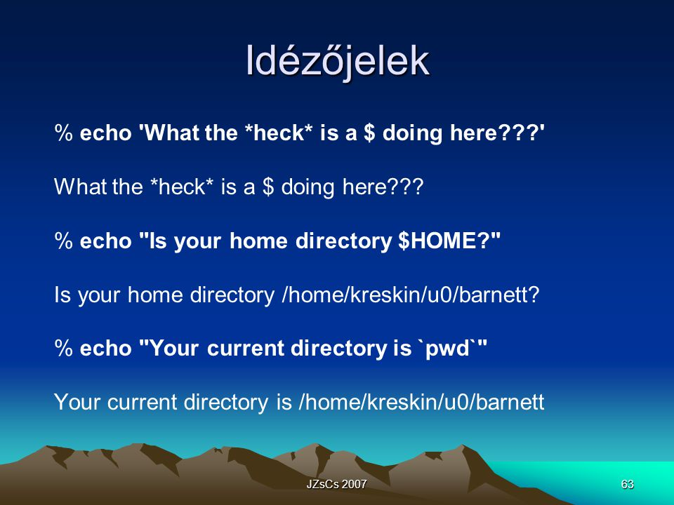 Idézőjelek % echo What the *heck* is a $ doing here