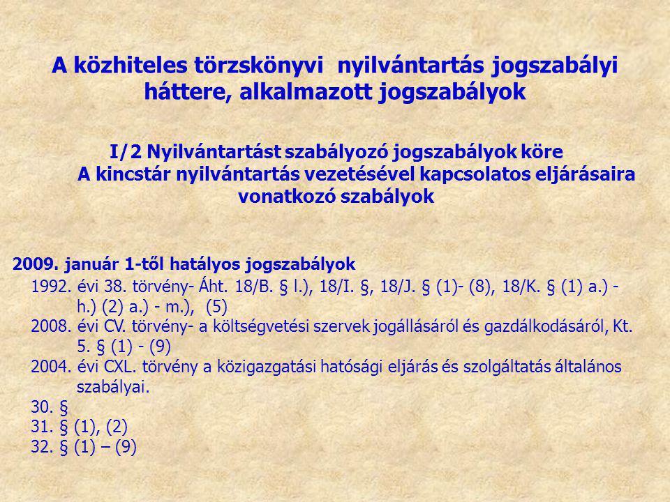 I/2 Nyilvántartást szabályozó jogszabályok köre
