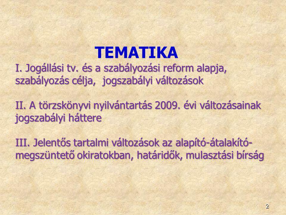 TEMATIKA I. Jogállási tv