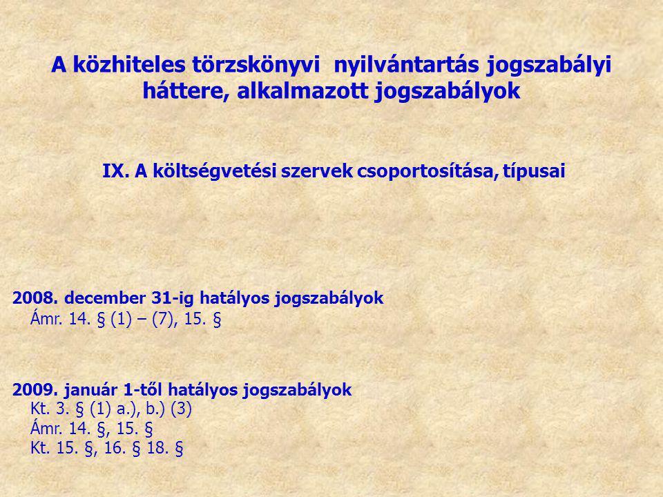 IX. A költségvetési szervek csoportosítása, típusai