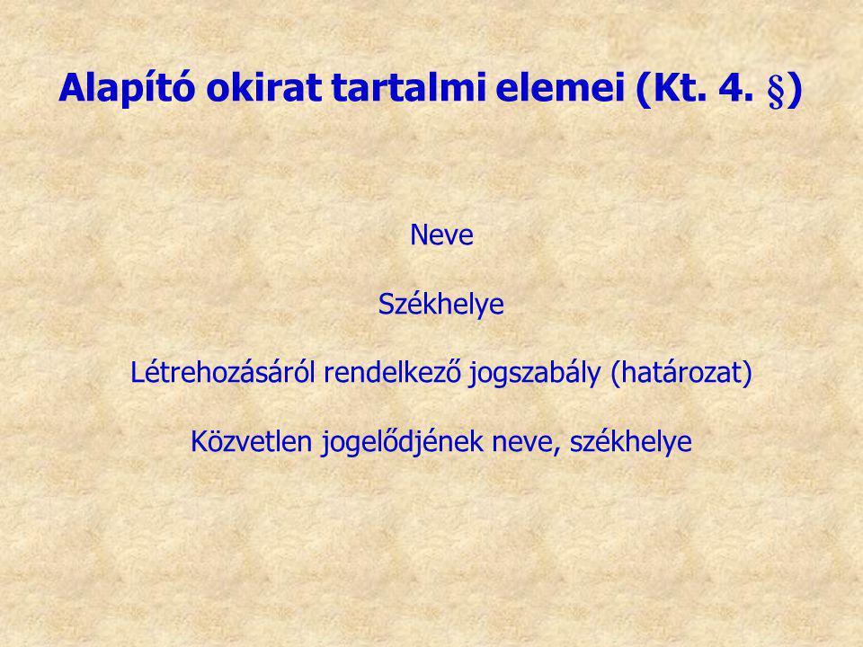 Alapító okirat tartalmi elemei (Kt. 4. §)