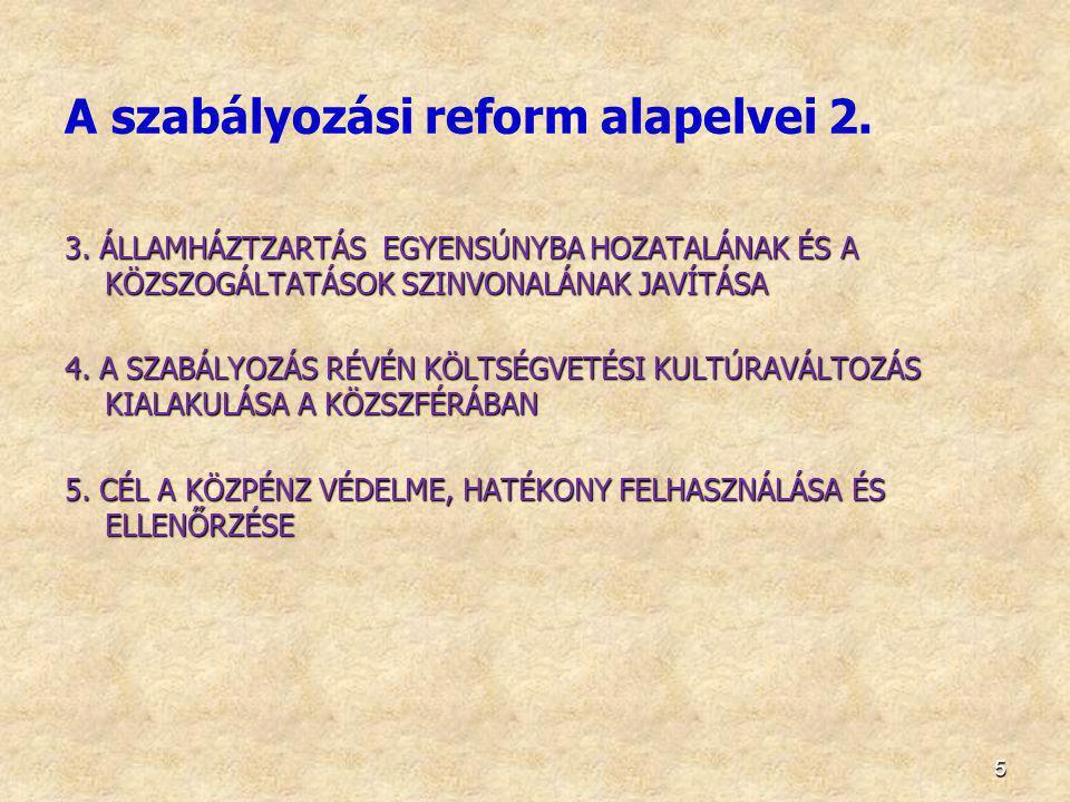 A szabályozási reform alapelvei 2.