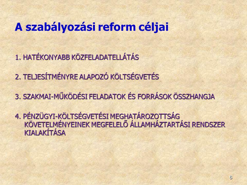 A szabályozási reform céljai