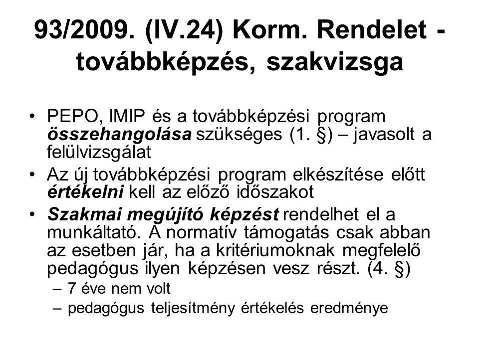 93/2009. (IV.24) Korm. Rendelet - továbbképzés, szakvizsga