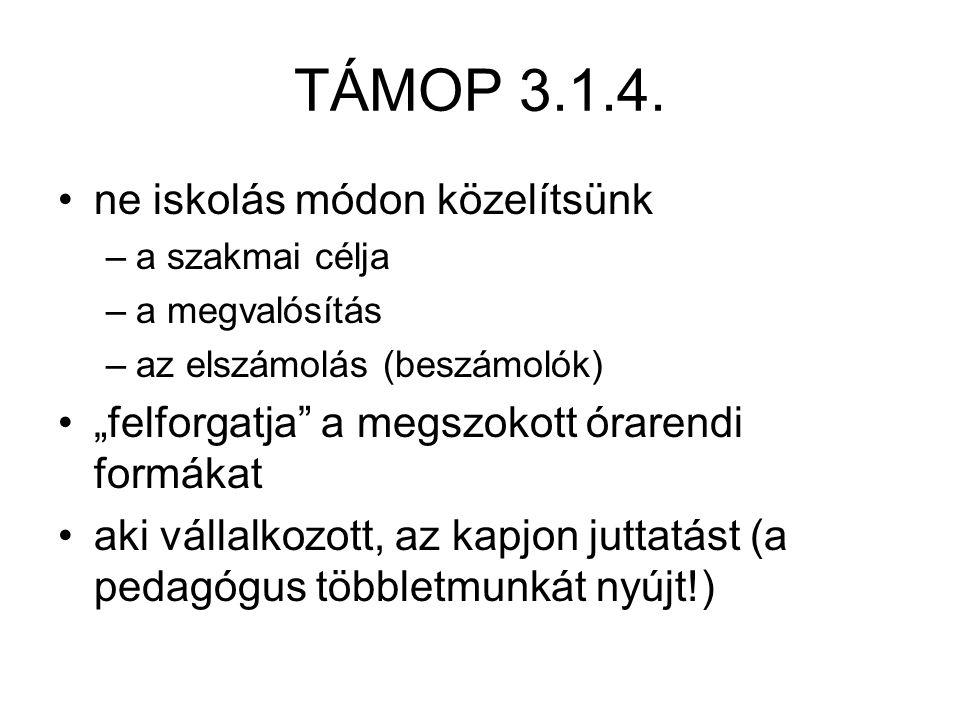 TÁMOP 3.1.4. ne iskolás módon közelítsünk