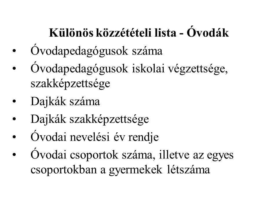 Különös közzétételi lista - Óvodák