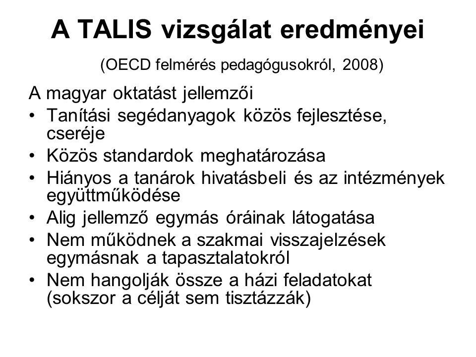 A TALIS vizsgálat eredményei (OECD felmérés pedagógusokról, 2008)