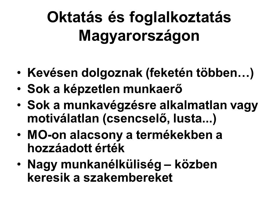 Oktatás és foglalkoztatás Magyarországon