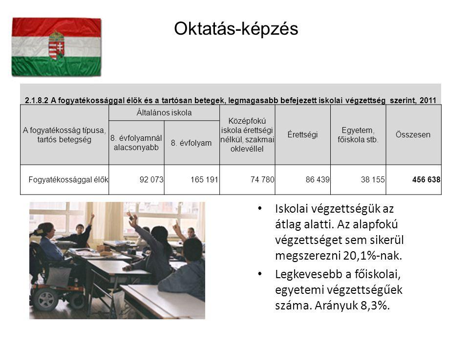 Oktatás-képzés 2.1.8.2 A fogyatékossággal élők és a tartósan betegek, legmagasabb befejezett iskolai végzettség szerint, 2011.