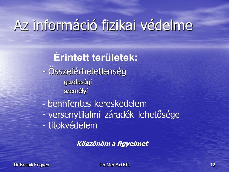 Az információ fizikai védelme