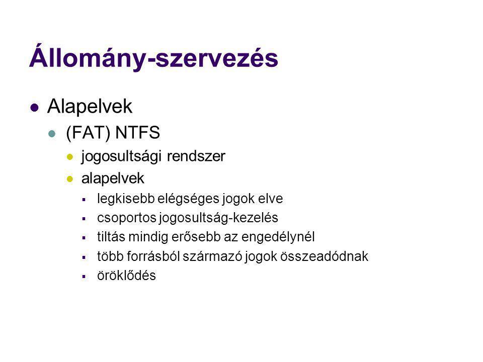 Állomány-szervezés Alapelvek (FAT) NTFS jogosultsági rendszer