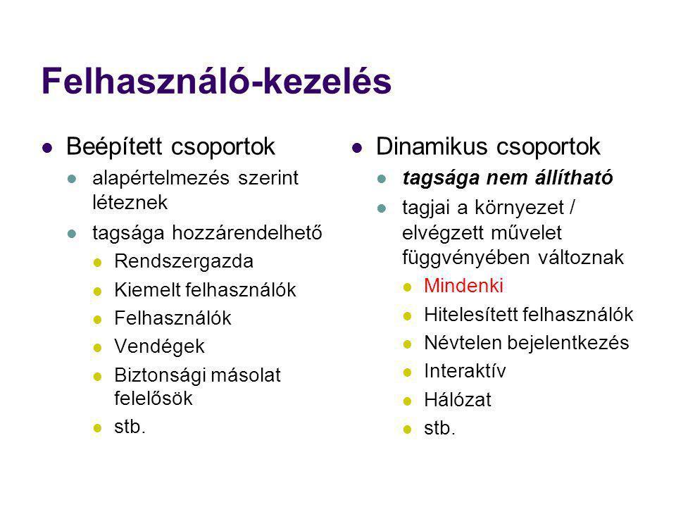 Felhasználó-kezelés Beépített csoportok Dinamikus csoportok