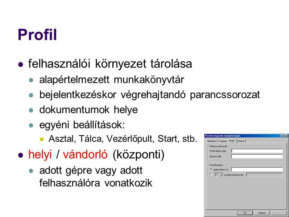 Profil felhasználói környezet tárolása helyi / vándorló (központi)