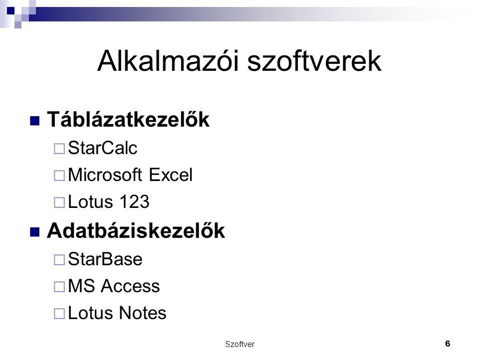 Alkalmazói szoftverek