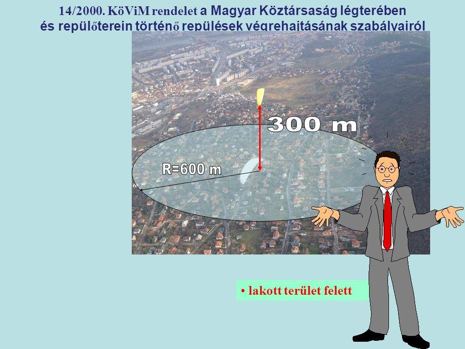 300 m R=600 m 14/2000. KöViM rendelet a Magyar Köztársaság légterében
