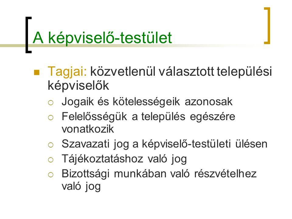 A képviselő-testület Tagjai: közvetlenül választott települési képviselők. Jogaik és kötelességeik azonosak.