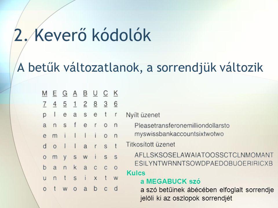 2. Keverő kódolók A betűk változatlanok, a sorrendjük változik Kulcs