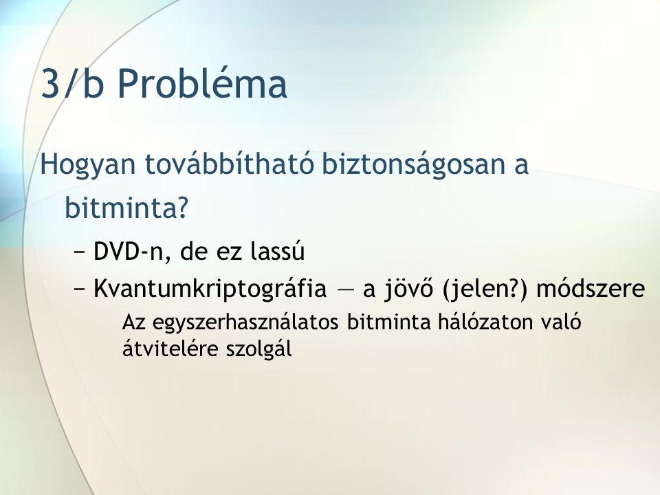 3/b Probléma Hogyan továbbítható biztonságosan a bitminta
