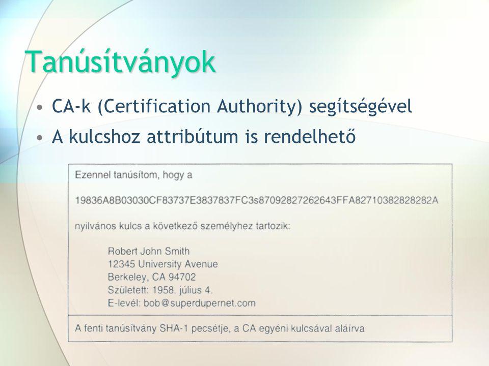 Tanúsítványok CA-k (Certification Authority) segítségével